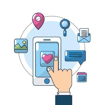 Smartphone avec serveur de connexion à écran tactile