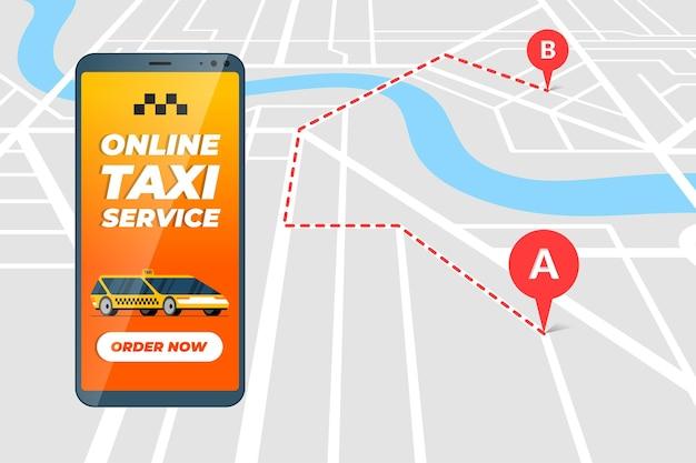 Smartphone avec service de commande de taxis en ligne, itinéraire de transfert de taxi concept d'application et emplacement gps géolocalisé