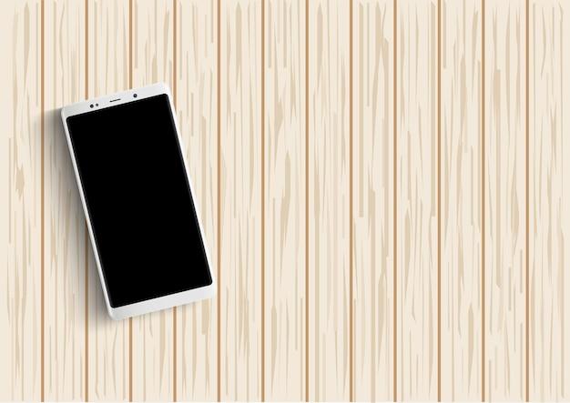 Smartphone sur table en bois. illustration vectorielle.