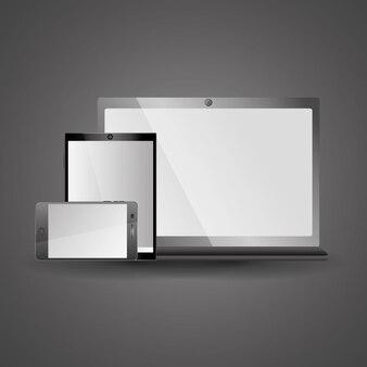 Smartphone tablette et ordinateur portable icône gadgets électroniques