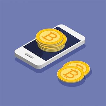 Smartphone avec tas de bitcoins dans un style isométrique branché. mouvement d'argent et paiement en ligne. concept de banque en ligne. remise en argent ou remboursement d'argent. illustration isolée