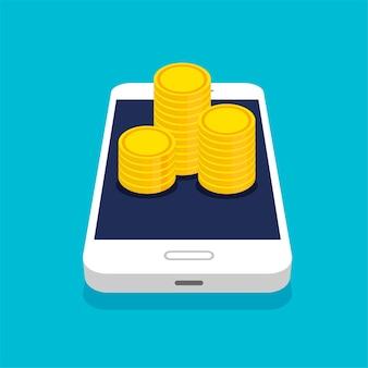 Smartphone avec tas de pièces ou pile dans un style 3d branché. mouvement d'argent et paiement en ligne. concept de banque en ligne.