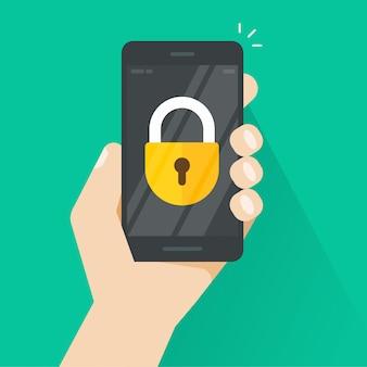 Smartphone ou téléphone portable à la main avec l'icône du verrou à l'écran