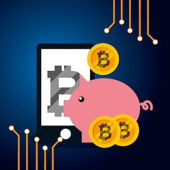 Smartphone tirelire bitcoin argent vector illustration