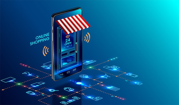 Smartphone transformé en boutique internet
