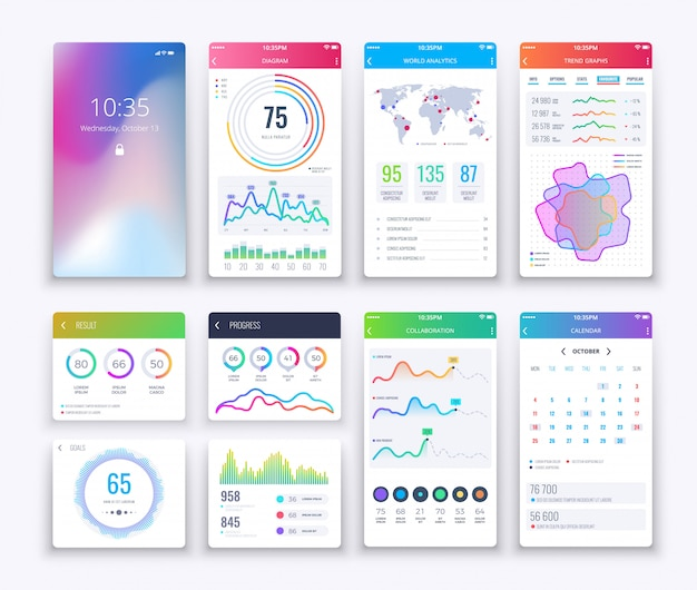 Smartphone ui. ui et ux graphiques mobiles, modèle d'interface apps mode de vie numérique apps défini dans le style blanc