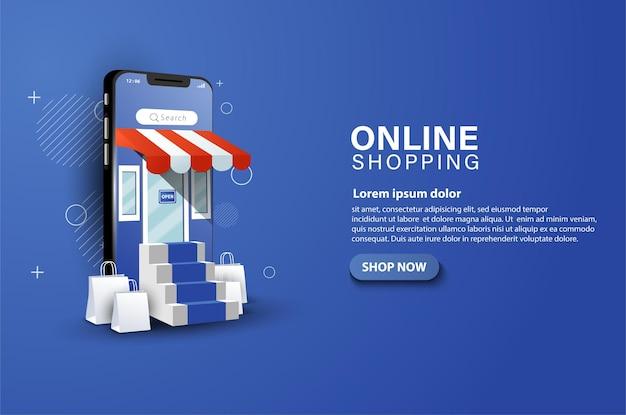 Smartphones et achats dans les boutiques en ligne ainsi que des sacs cadeaux sur le devant