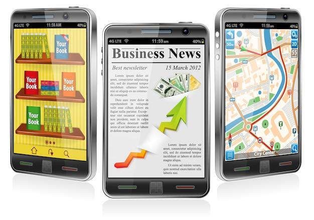 Smartphones avec diverses applications