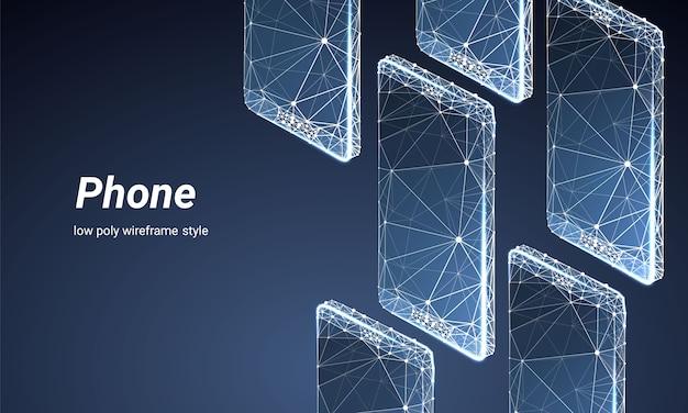 Smartphones isométriques avec style filaire polygonal