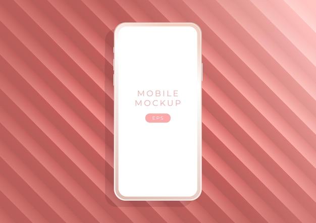 Smartphones de maquette d'argile de luxe minimaliste rose dorée