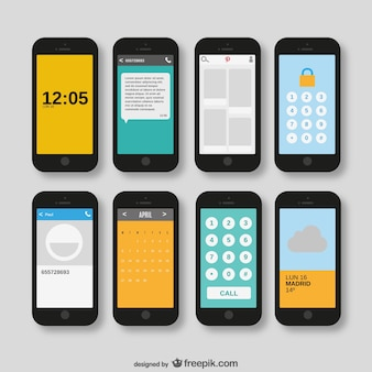 Smartphones pack vecteur
