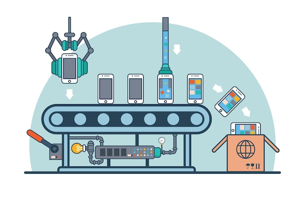 Smartphones plats linéaires sur convoyeur alimentant avec illustration de firmware et de logiciel. ligne de production de téléphone portable et concept d'emballage.