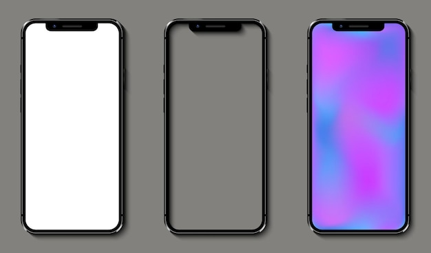 Smartphones réalistes avec écran dégradé de maille de couleur blanche, transparente et douce