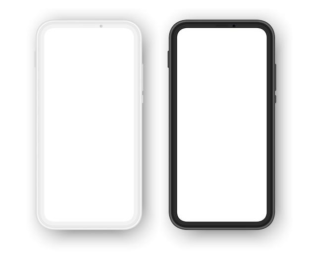 Smartphones sans cadre, versions blanche et noire.