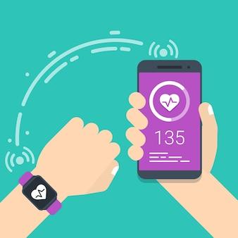 Smartwatch et connexion au smartphone concept