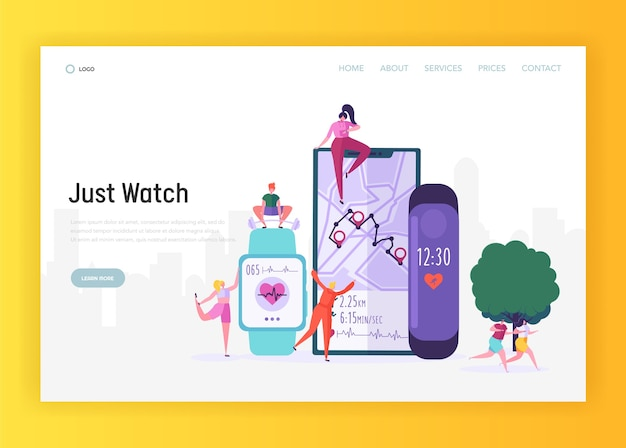 Smartwatch moderne pour la page de destination du sportif. la montre sportive comprend un tracker d'activité pour surveiller le temps au tour, la fréquence cardiaque et le site web ou la page web de suivi de l'itinéraire. illustration vectorielle de dessin animé plat