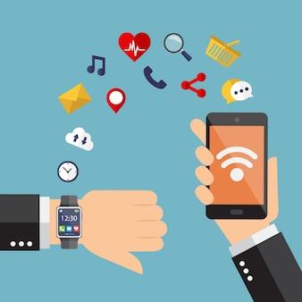 Smartwatch et smartphone synchronisés