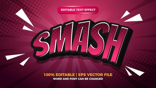 Smash effet de texte modifiable de style dessin animé comique avec fond de demi-teintes