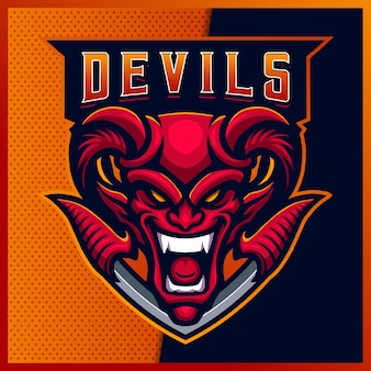 Smile red devil esport et création de logo de mascotte sport avec illustration moderne. illustration du diable de feu