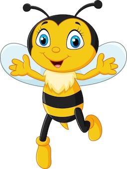 Smiley abeille volant isolé sur fond blanc
