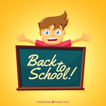 Smiley boy and blackboard avec un design plat