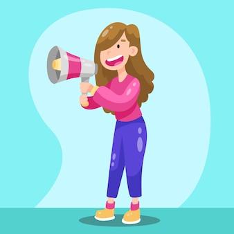Smiley femme hurlant avec un mégaphone