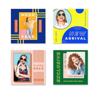 Smiley femmes colorées instagram vente post