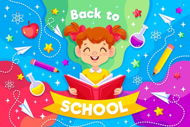 Smiley girl illustré avec un message de retour à l'école
