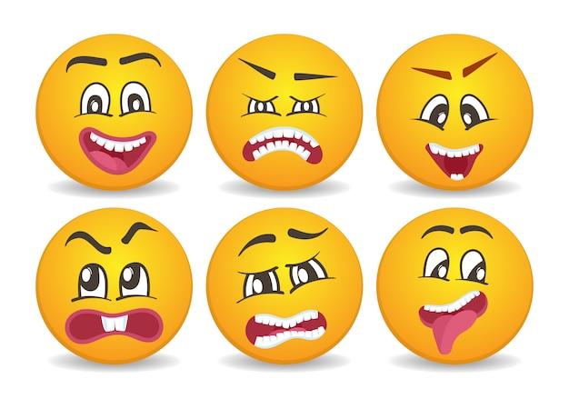 Smileys avec différentes expressions du visage coincés