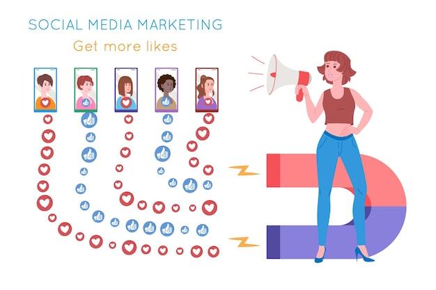 Smm, marketing des médias sociaux, promotion numérique sur internet, réseau social. bannière de l'agence smm. la femme attire les cœurs et aime avec un aimant. illustration vectorielle de dessin animé pour les services publicitaires.