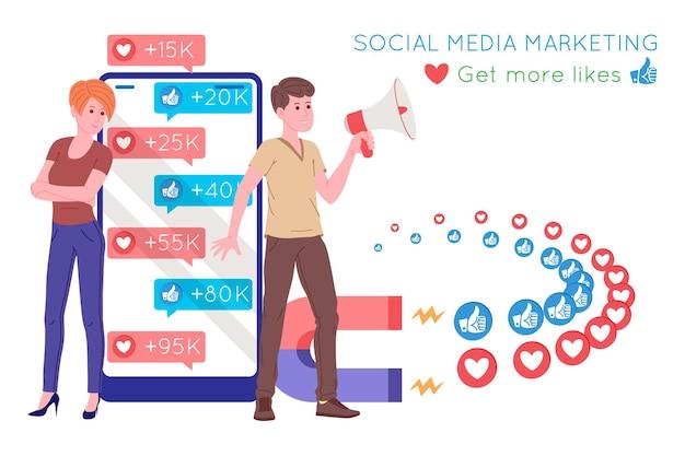 Smm, marketing des médias sociaux, promotion numérique sur internet, réseau social. bannière de l'agence smm. la femme attire les goûts et les cœurs avec un aimant. illustration vectorielle de dessin animé pour les services publicitaires.