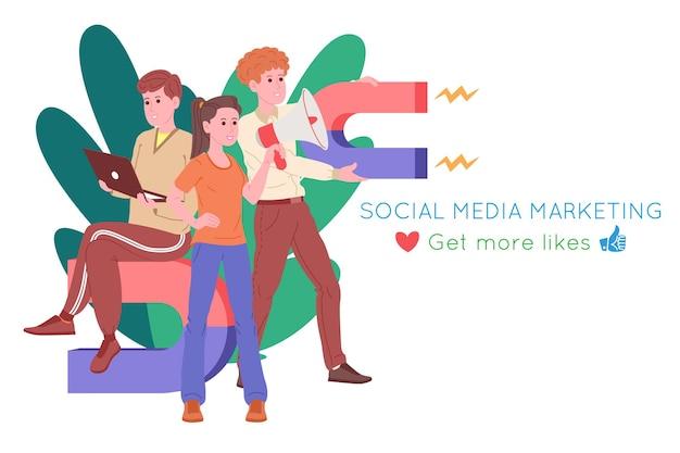 Smm, marketing des médias sociaux, promotion numérique sur internet, réseau social. bannière de l'agence smm. la femme et les hommes attirent les cœurs et les goûts avec un aimant. illustration vectorielle de dessin animé pour la publicité.