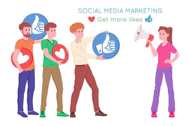 Smm, marketing des médias sociaux, promotion numérique sur internet, réseau social. bannière de l'agence smm. une femme à travers le mégaphone attire les goûts et les cœurs. illustration vectorielle de dessin animé pour la publicité.