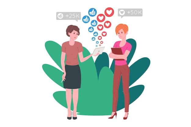 Smm, marketing des médias sociaux, promotion numérique sur internet, réseau social. bannière de l'agence smm. les femmes évaluent une stratégie de promotion et de marketing. illustration vectorielle de dessin animé pour la publicité.