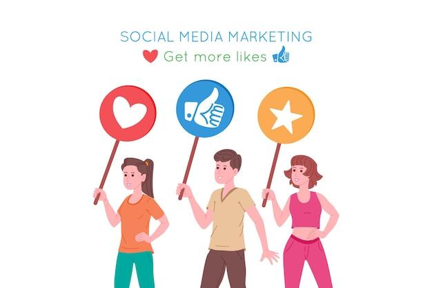 Smm, marketing des médias sociaux, promotion numérique sur internet, réseau social. bannière de l'agence smm. les gens tiennent des signes de goûts et de cœurs. illustration vectorielle de dessin animé pour la publicité.