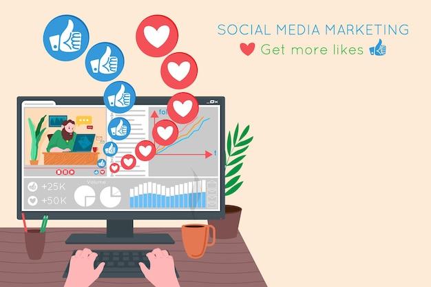 Smm, marketing des médias sociaux, promotion numérique sur internet, réseau social. bannière de l'agence smm. le gestionnaire met en place une stratégie de promotion et de marketing. illustration vectorielle de dessin animé pour la publicité.