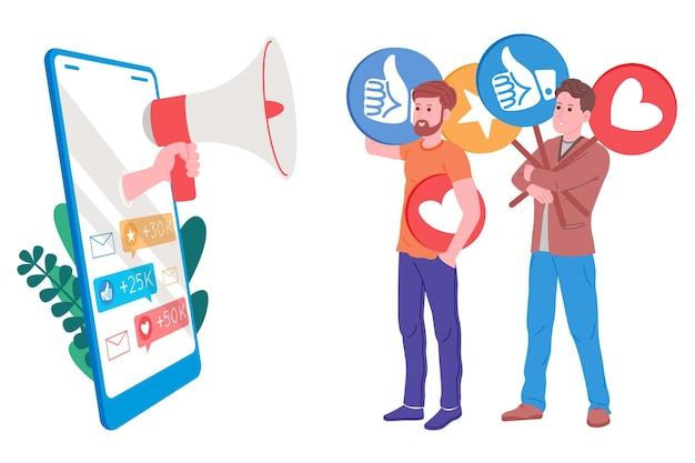 Smm, marketing des médias sociaux, promotion numérique sur internet, réseau social. bannière de l'agence smm. marketologist par le mégaphone attire les goûts et les cœurs. illustration vectorielle pour la publicité