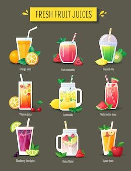 Smoothie aux fruits, ensemble de jus de fruits frais. éléments de menu, illustration vectorielle