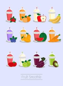 Smoothie aux fruits mélangés pour la boisson du menu des dessins