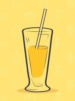 Smoothie boisson jaune avec de la paille