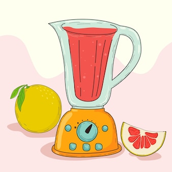 Smoothie dessiné à la main dans un verre mélangeur