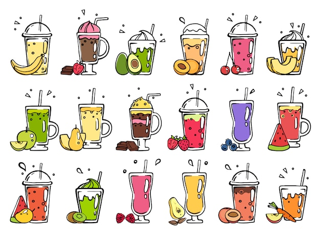 Smoothie dessinés à la main. cocktails d'été