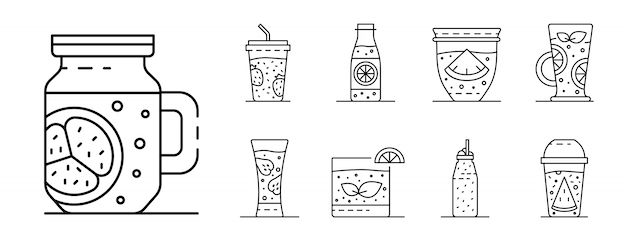 Smoothie icon set, style de contour