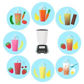 Smoothie pour accompagner différents fruits et mixeur