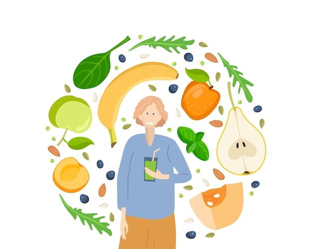 Smoothie vegan detox food and drink femme avec un verre de smoothie à la main et des ingrédients