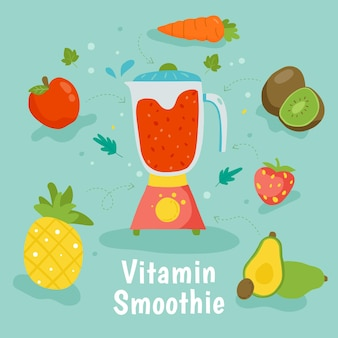 Smoothie vitaminé dessiné à la main dans un verre mélangeur