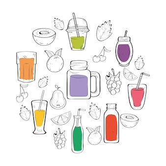 Smoothies boissons et fruits autour
