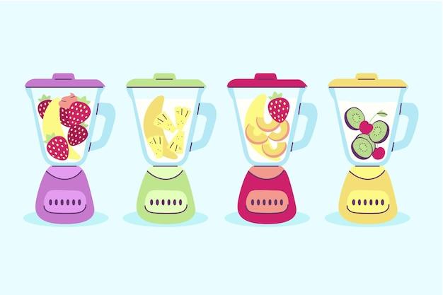 Smoothies dessinés à la main dans un ensemble de verre mélangeur
