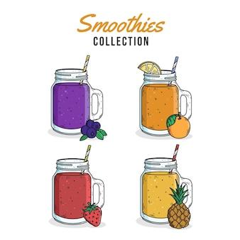 Smoothies dessinés à la main dans l'illustration de verre mélangeur