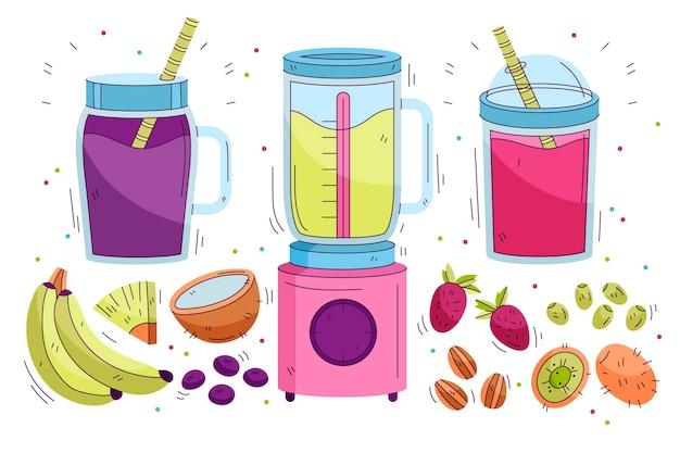 Smoothies dessinés à la main dans un verre mélangeur